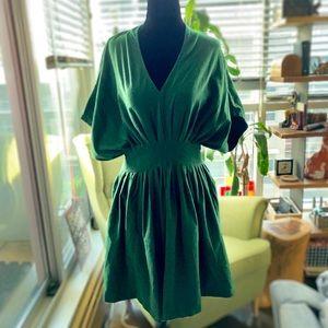 eShakti | Pleated V-Neck Cotton Dress - Green, 10
